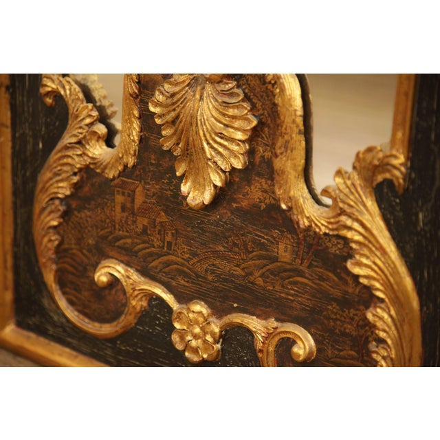 "Gold Castilian 76"" Tall Pair Gilt Carved Rococo Chinoiserie Painted Mirror Wall Panels For Sale - Image 8 of 12"