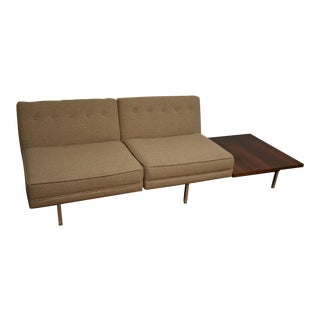 George Nelson Walnut and Chrome Beige Sofa For Sale