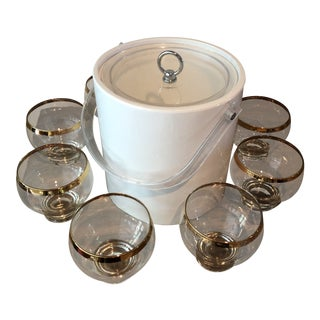 1960's Vintage Winter White Retro Barware Set- 9 Pieces