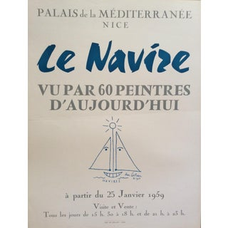 "1950's Vintage Original ""Le Navire"" Art Exhibition Poster by Jean Cocteau For Sale"