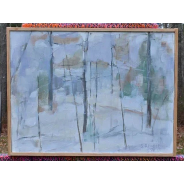 """White Stephen Remick """"Winter Woods"""" Painting For Sale - Image 8 of 8"""