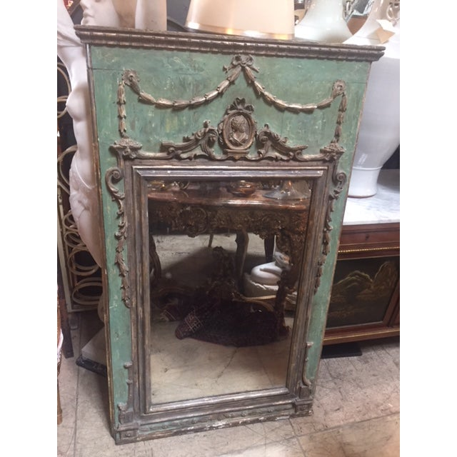 Late 18th Century Italian Green & Gold Mirror For Sale - Image 10 of 12