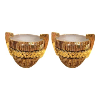 Italian Glistening Cachepots Planters - a Pair