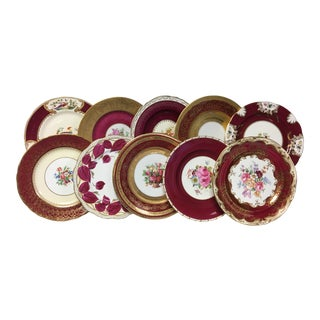 Maroon Band Mixed Vintage Dinner Plates Set 10 For Sale