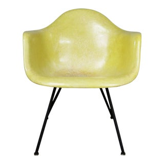 Eames Herman Miller Lax Fiberglass Arm Shell Chair X Base Zenith Rope Edge Yellow For Sale
