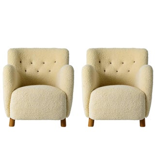 Pair of Scandinavian Sheepskin Lounge Chairs For Sale