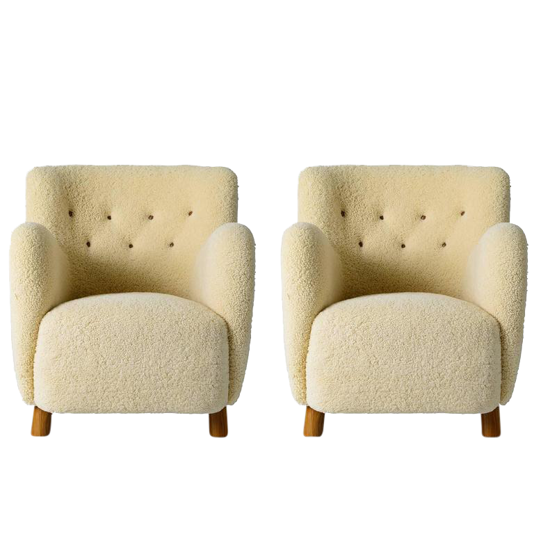 Pair Of Scandinavian Sheepskin Lounge Chairs   Image 1 Of 10