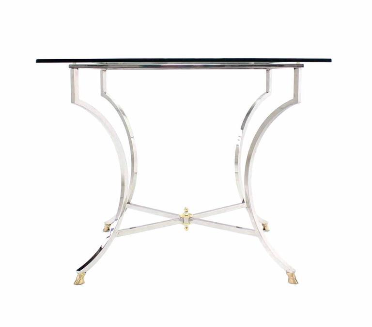 Brass Hoof Feet Chrome Glass Top Square Game Table   Image 2 Of 6