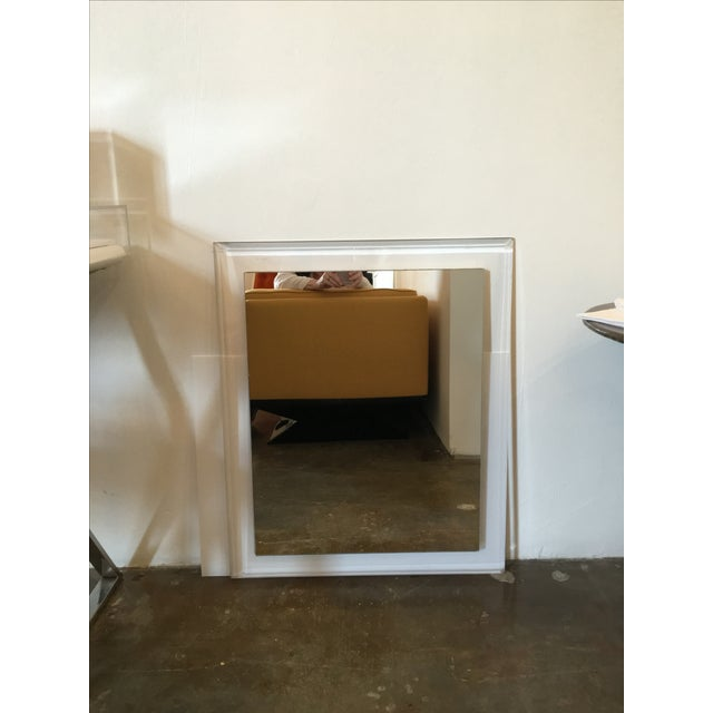 Mid-Century Modern Lucite Framed Wall Mirror - Image 2 of 8