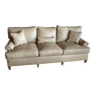 Modern Custom Made Taupe Leather Sofa For Sale