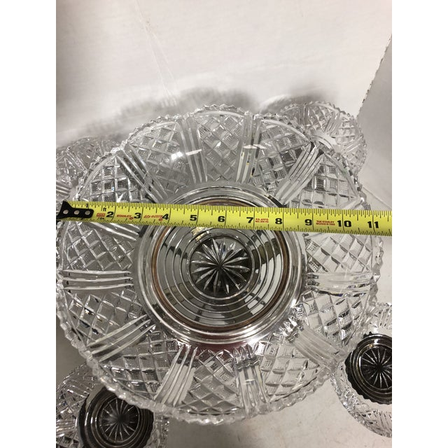 Vintage Crystal and Silver Plate Epergne For Sale - Image 4 of 13
