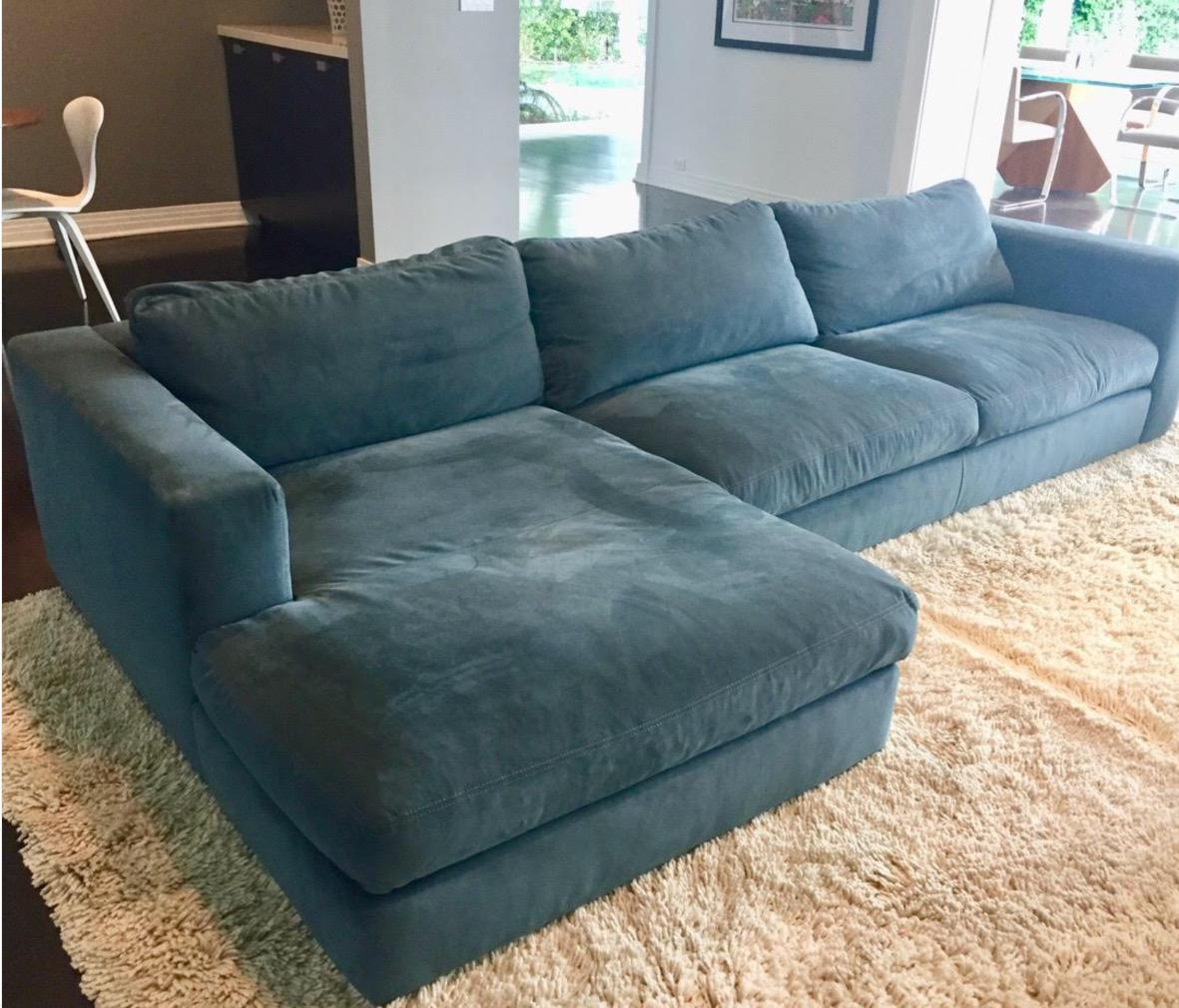 DWR Reid Sectional Chaise With Matching Ottoman   Image 3 Of 9