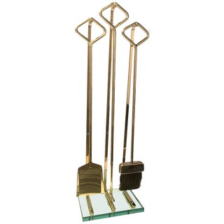 Fine Italian Modernist Brass and Glass Fireplace Tools For Sale