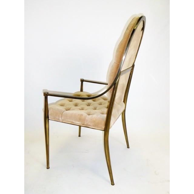 Hollywood Regency 1960s Vintage Mastercraft Brass Tufted Velvet Dining Chairs - Set of 6 For Sale - Image 3 of 13