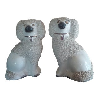 Mid 19th Century Antique Staffordshire English Poodle Figurines - a Pair For Sale