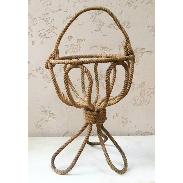 Mid-Century Modern Rope Knitting Basket Audoux Minet Circa 1960 For Sale - Image 3 of 3