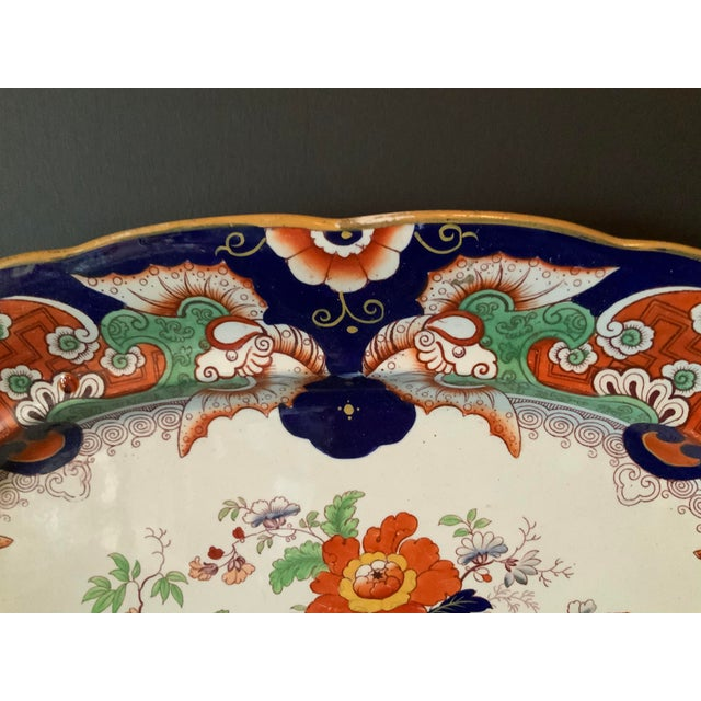 Antique Ironstone China Hand Painted Platter For Sale In San Diego - Image 6 of 9