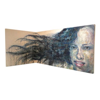 """Contemporary Portrait Oil Painting """"Floating in the Corner"""" by Christina Major For Sale"""