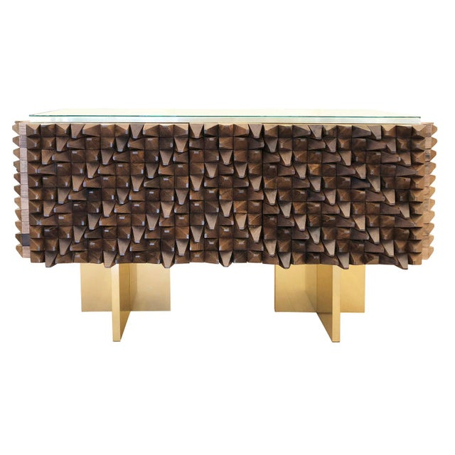Contemporary Organic Modern Wood Credenza by Interno 43 for Gaspare Asaro For Sale - Image 3 of 8