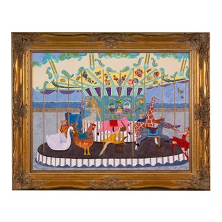 Contemporary Carousel Painting and Collage For Sale