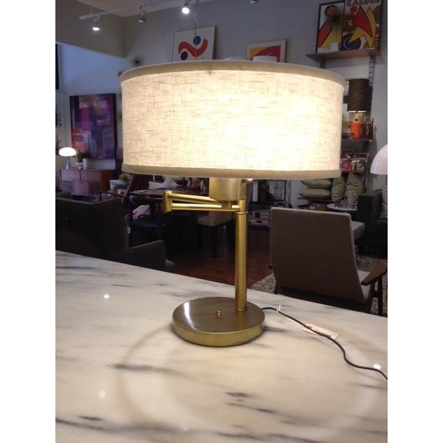 Vintage Brass Swing Arm Desk Lamp with Drum Shade - Image 2 of 7
