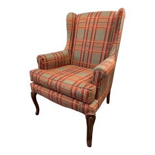 Antique Plaid Wingback Chair For Sale