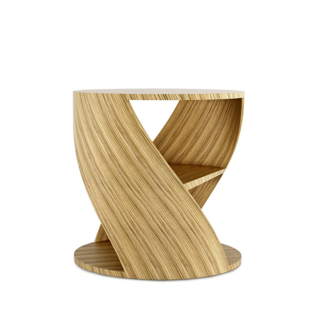 Brown Mydna Zebrano Decorative Side Table by Joel Escalona For Sale - Image 8 of 8