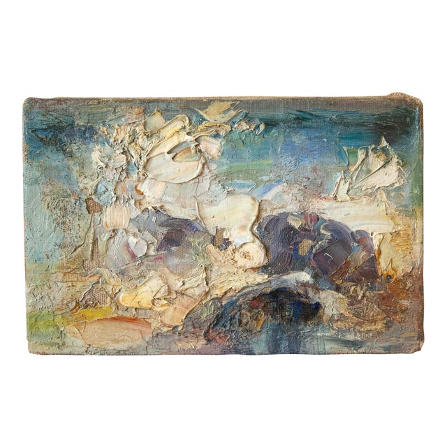 1969 Vintage Abstract Landscape Oil Painting, Signed Bolha For Sale