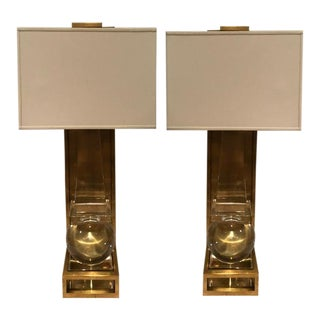 Antique Brass & Crystal Sconces - A Pair For Sale