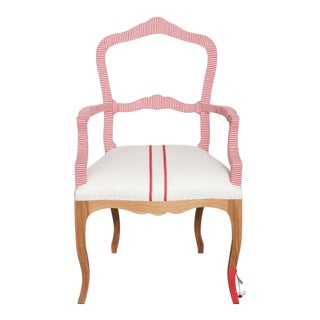 Bunakara Two Stripe Arm Chair in Imperial Red For Sale
