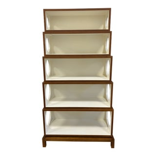 Wood + White Sculptural Stackable Etagere For Sale