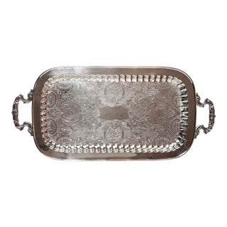 1970s Large Silver Plate Footed Serving Tray With Handles For Sale
