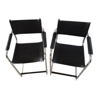 Vintage Mid-Century Italian Black Leather & Chrome Bar Stools- A Pair For Sale