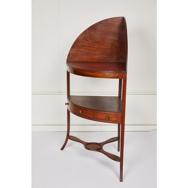 Traditional Mahogany Corner Wash Stand With Red Leather Top For Sale - Image 3 of 11