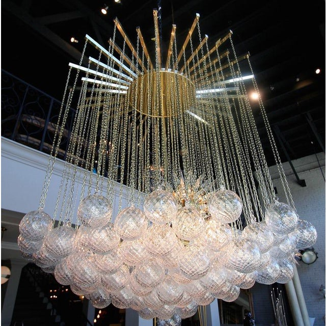 Mid-Century Modern 1970s Italian Bubble Glass Chandelier For Sale - Image 3 of 7