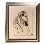 Image of Original Vintage 70's Portrait Painting of Woman For Sale