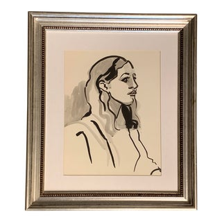 Original Vintage 70's Portrait Painting of Woman For Sale