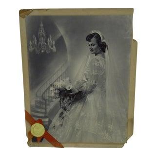 C. 1955 Portrait of a Bride by Vincent Evans Jr. Black & White Photograph For Sale