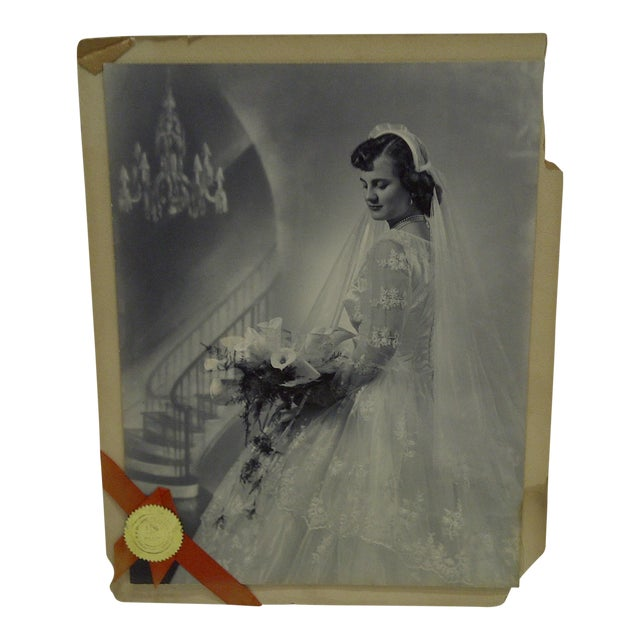 C. 1955 Portrait of a Bride by Vincent Evans Jr. Black & White Photograph For Sale