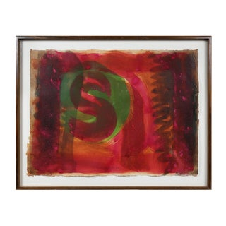 "Hand Colored Intaglio Print by Howard Hodgkin Titled ""Red Listening Ear"" For Sale"