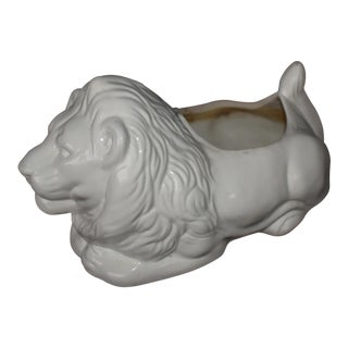 Glazed White Lion Cachepot For Sale