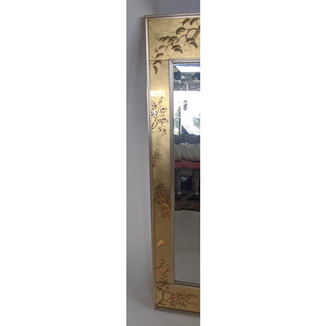 Glass La Barge Chinoiserie Reverse Hand Painted Eglomise Mirror For Sale - Image 7 of 12