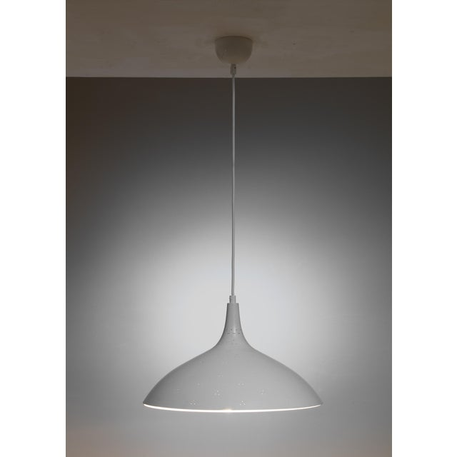 Mid-Century Modern Paavo Tynell White Model 1965 Pendant Lamp, Idman, Finland For Sale - Image 3 of 4
