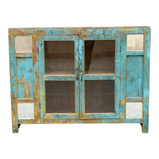 Charming Turquoise Farmhouse Colonial Sideboards For Sale