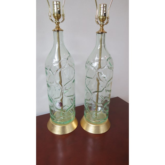 Modern Green Blown Glass Lamps - A Pair - Image 4 of 9