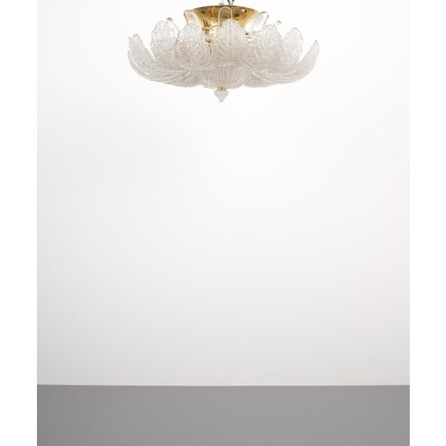 1960s Great Barovier Toso Flush Mount or Chandelier Glass Brass, Italy Mid Century For Sale - Image 5 of 13