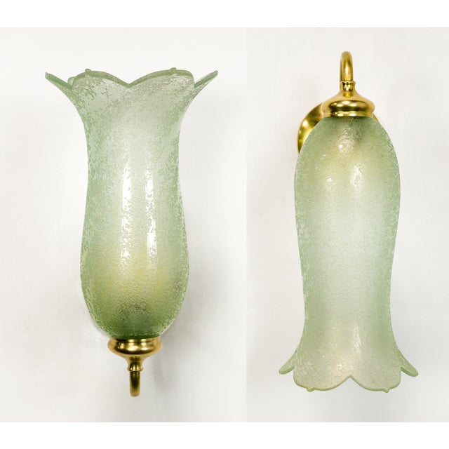 Antique Pale Green Textured Glass Bellflower Scroll Arm Sconces - a Pair For Sale - Image 13 of 13