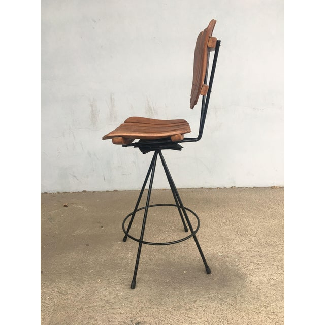 Arthur Umanoff Style Slate Bar Stool W Black Wrought Iron