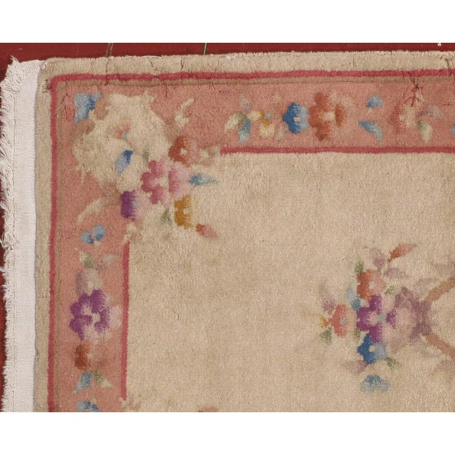 This is an antique Art Deco Chinese wool rug in original condition. The rug was made in very light and soft shades. The...