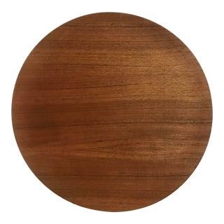 Vintage XL Danish Wood Circular Tray For Sale